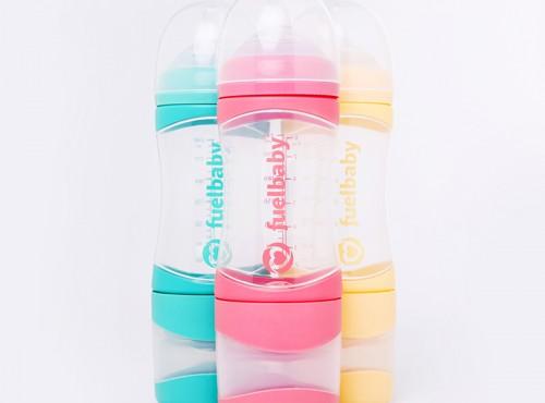 按壓式寬口防脹氣雙層奶瓶 240 mL(3入,共三色各一款)